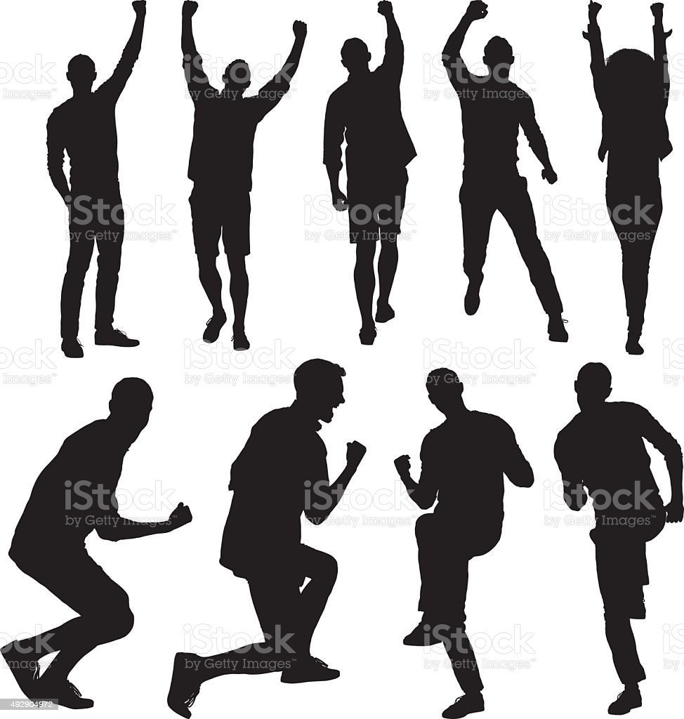People cheering vector art illustration