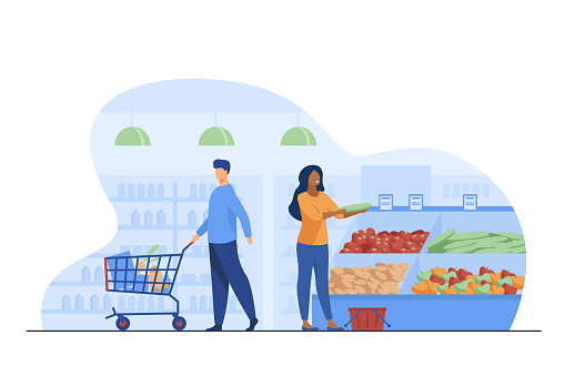 People choosing products in grocery store