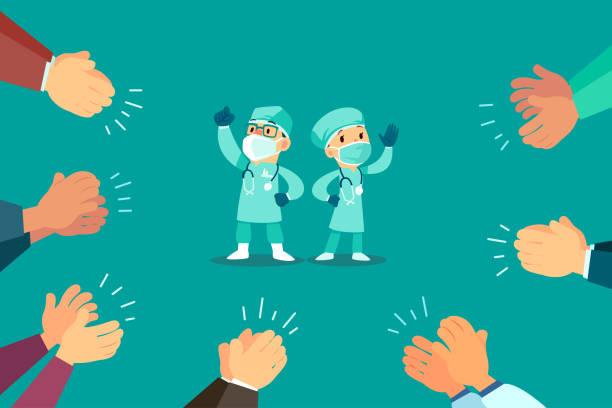 Menschen klatschen die Hand für Ärzte – Vektorgrafik