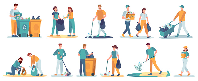 People clean up garbage. Volunteers gathering trash for recycle. Characters cleaning environment from litter. Waste collectors vector set