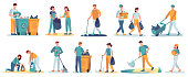 istock People clean up garbage. Volunteers gathering trash for recycle. Characters cleaning environment from litter. Waste collectors vector set 1282489792