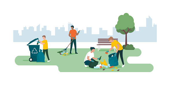 People cleaning a city park together and collecting waste