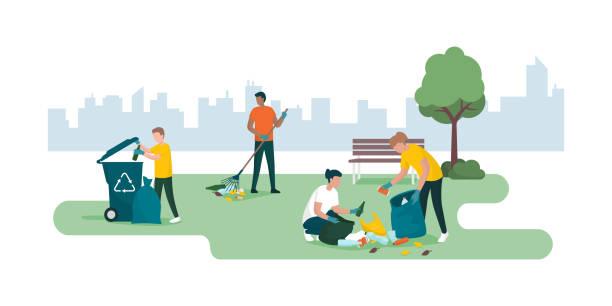 stockillustraties, clipart, cartoons en iconen met mensen die een stadspark samen schoonmaken en afval inzamelen - oppakken