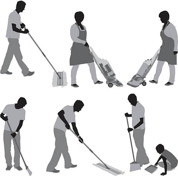 Menschen, die Reinigung der Etage – Vektorgrafik