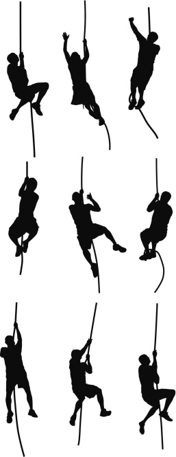 People climbing a rope