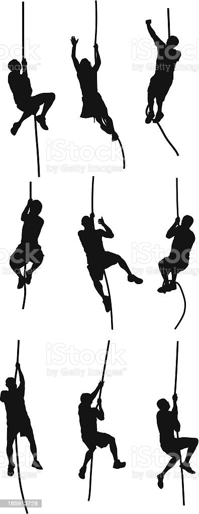 People climbing a rope vector art illustration