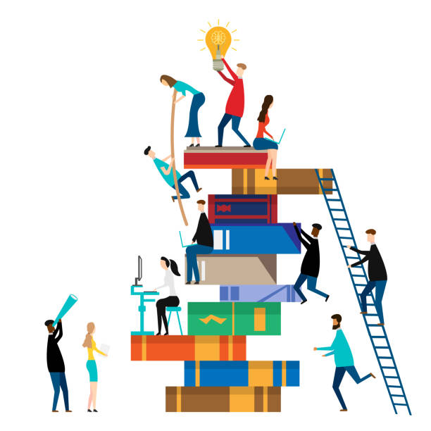 people climbing books. isolated on white background. vector illustration. - book clipart stock illustrations