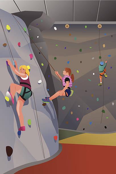 people climbing indoor wall - rock climbing stock illustrations, clip art, cartoons, & icons