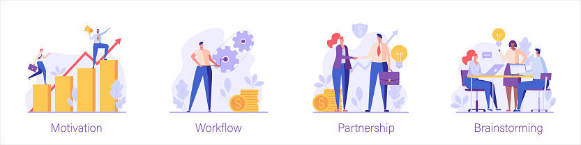 People climbing the career ladder, businessmen signing a contract, colleagues are engaged in brainstorming. Set of motivation, workflow, partnership, brainstorming. Vector illustration in flat