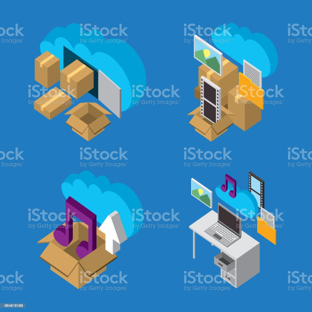 people cloud computing storage royalty-free people cloud computing storage stock illustration - download image now
