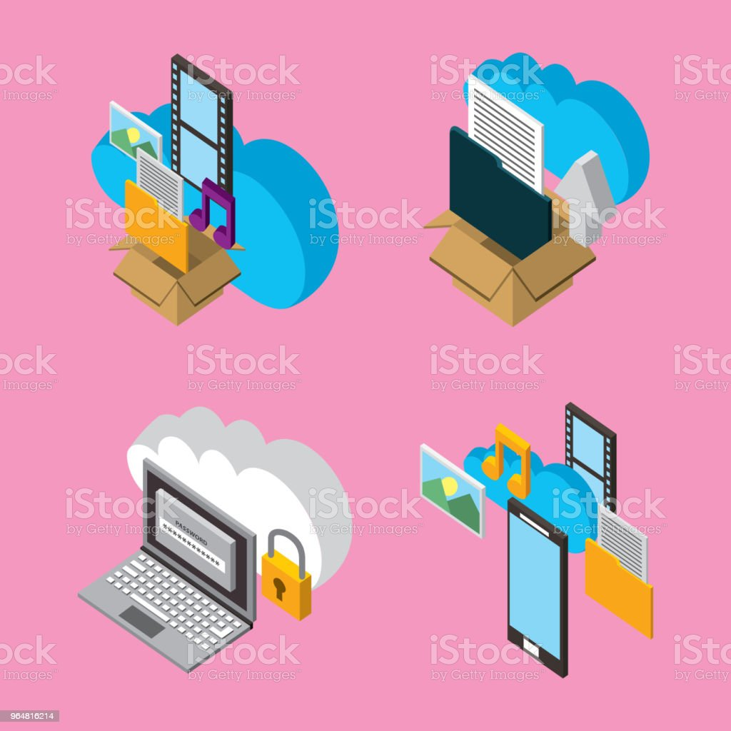 people cloud computing storage royalty-free people cloud computing storage stock vector art & more images of box - container