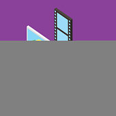 people folder photo movie cloud computing storage isometric vector illustration