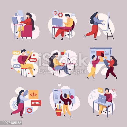 istock People coding. Busy web developers hackers programmers working garish vector illustrations 1297405363