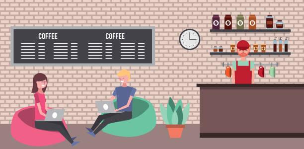 ilustrações de stock, clip art, desenhos animados e ícones de people coffee shop - coffe shop