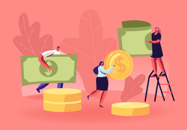 People Collecting and Saving Money Concept. Tiny Male and Female Characters Carry Huge Dollar Coins and Banknotes. Financial Success, Responsibility and Literacy. Cartoon Flat Vector Illustration People Collecting and Saving Money Concept. Tiny Male and Female Characters Carry Huge Dollar Coins and Banknotes. Financial Success, Responsibility and Literacy. Cartoon Flat Vector Illustration spelling stock illustrations