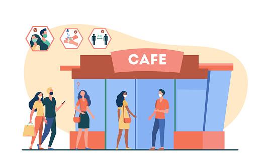 People coming to cafe during coronavirus pandemic