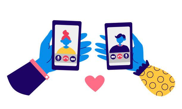 illustrazioni stock, clip art, cartoni animati e icone di tendenza di le persone comunicano online. concetto di videochiamata. mani e smartphone maschili, femminili. amore lontano, incontri online, illustrazione di chat video. schermo smartphone cartone animato: app di videochiamata. set di azioni vector eps - woman chat video mobile phone