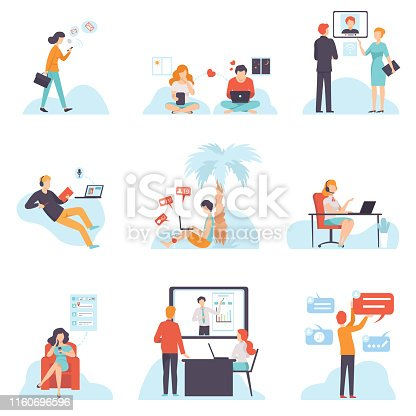People Communicating Via Internet with Mobile Devices Set, Young Men and Women Chatting, Dating, Writing Emails, Searching for Information, Social Networking Vector Illustration on White Background.
