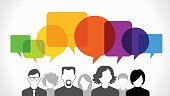Icons of people with speech bubbles. People Chatting. Vector illustration of a communication concept, The file is saved in the version AI10 EPS. This image contains transparency.