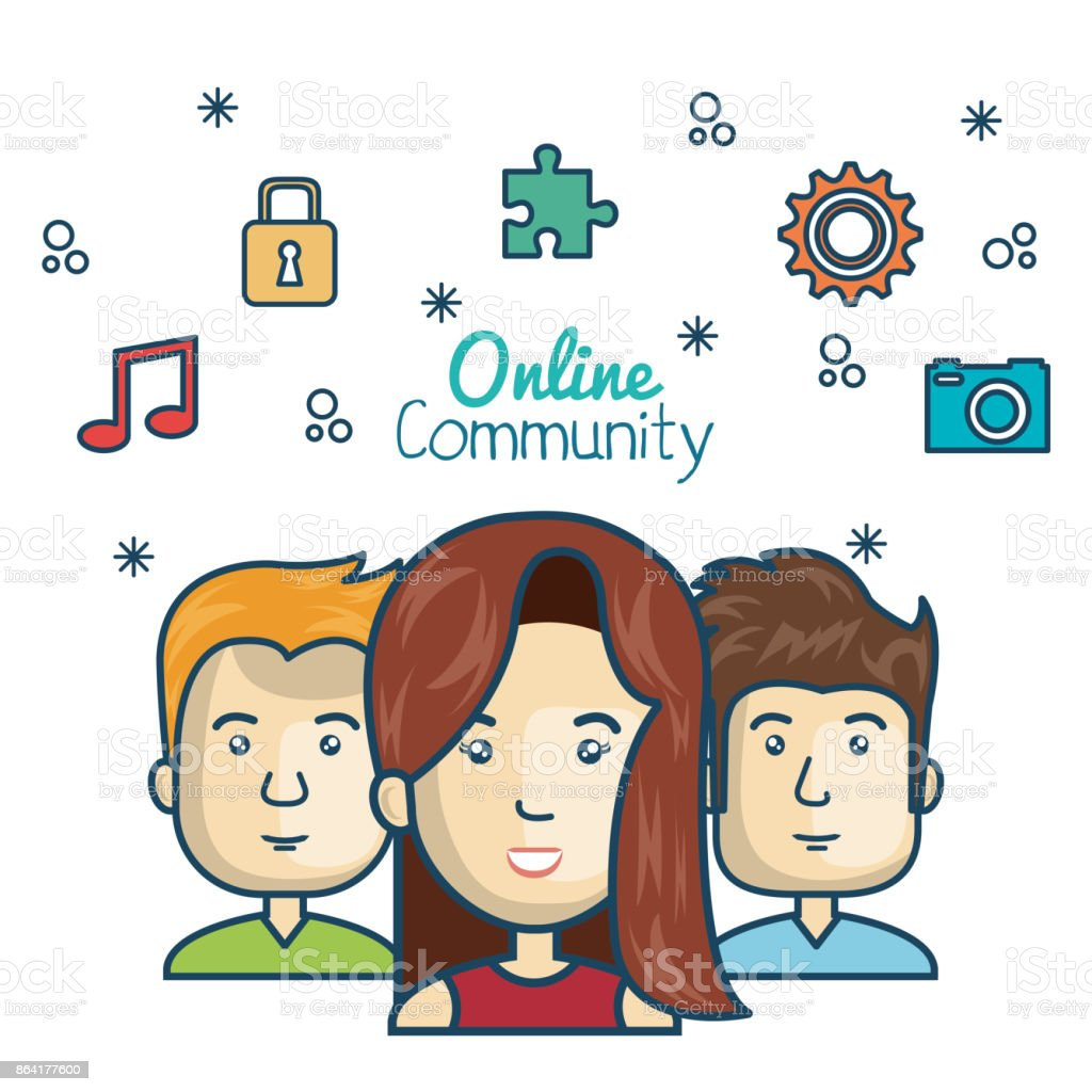 people community online concept with icons media royalty-free people community online concept with icons media stock vector art & more images of adult