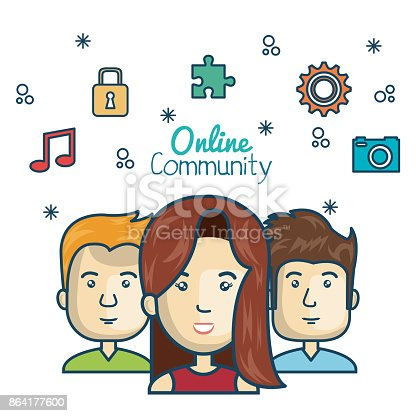 People Community Online Concept With Icons Media Stock Vector Art & More Images of Adult 864177600