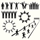 A set of human pictogram representing human rights, community, and united group.