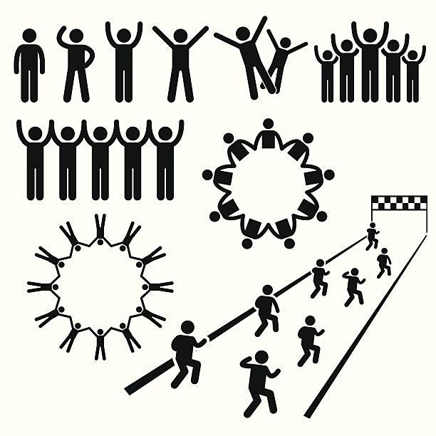 menschen, gemeinschaft wohlergehen stick figure pictogram icons - freilauf stock-grafiken, -clipart, -cartoons und -symbole