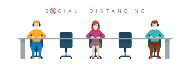 ilustrações de stock, clip art, desenhos animados e ícones de people conference, social distancing concept - covid restaurant