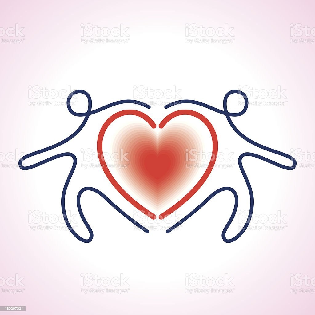 People Connected a heart Symbol royalty-free stock vector art
