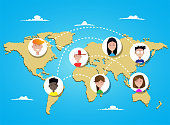 People connecting all over the world. Concept illustration of people posting in social networks around the world. Vector flat illustration. Spcial network