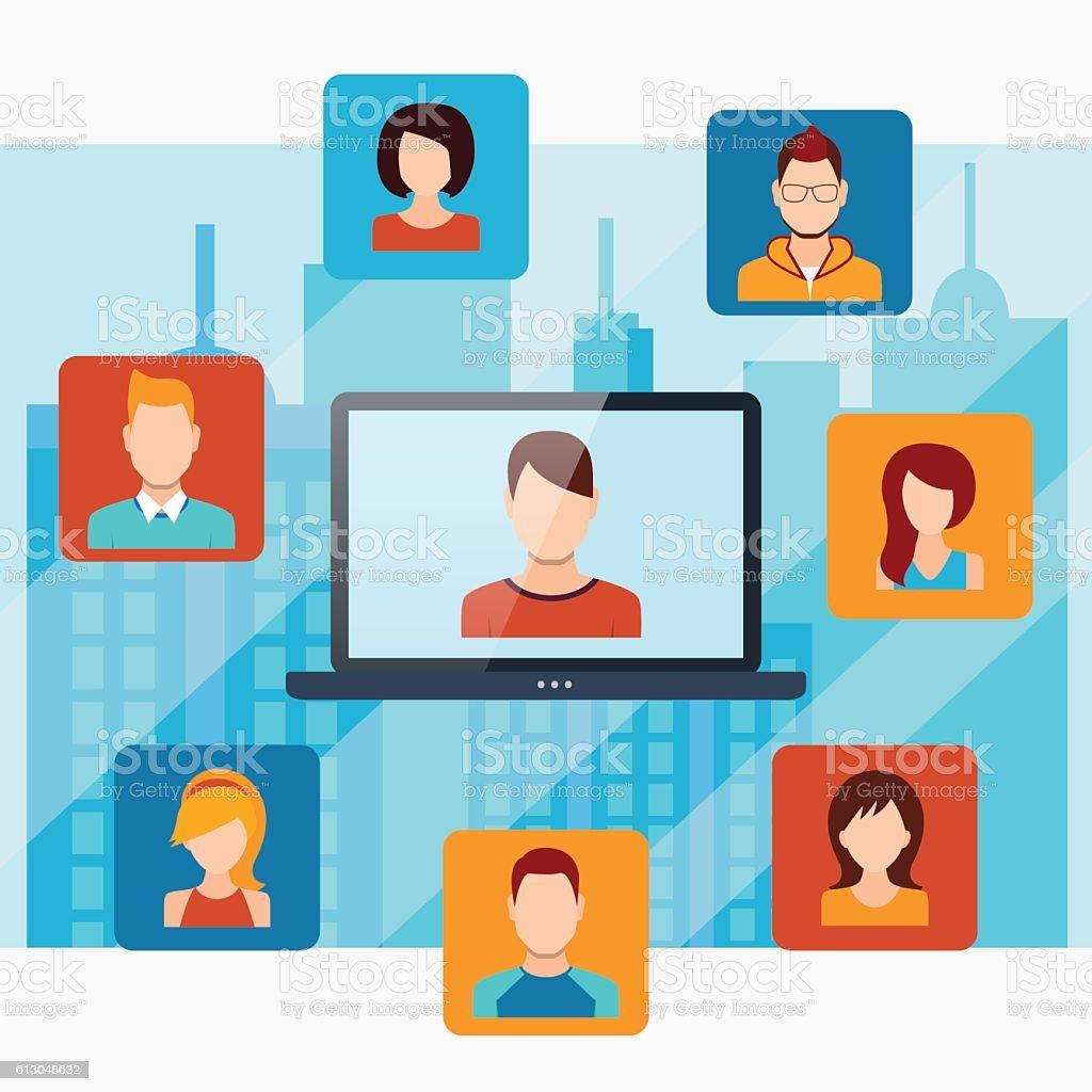 Menschen Konzept mit Verbindungstür – Vektorgrafik