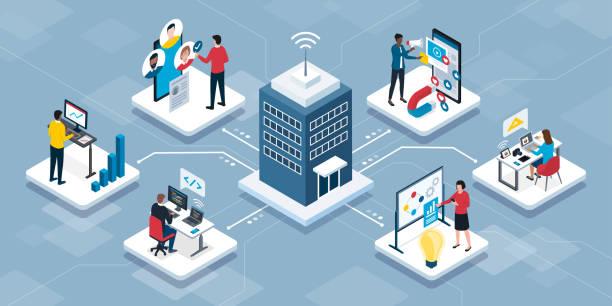 illustrazioni stock, clip art, cartoni animati e icone di tendenza di persone che si connettono online e lavorano da remoto - smart working