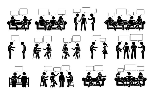 People conversation and communication with one another stick figure pictogram icons. Vector illustrations depict people or friends talking and chatting to each other in sitting and standing positions. stick figure stock illustrations