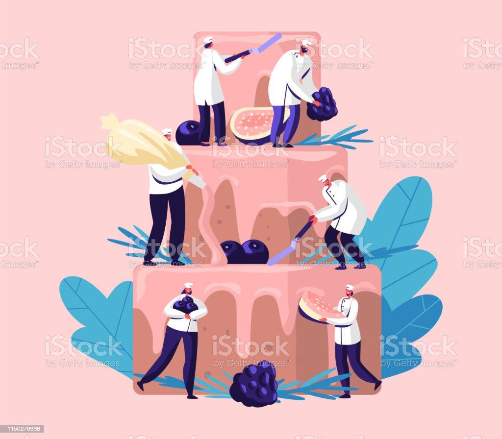 Mensen koken feestelijke taart met room en bessen. Tiny personages in chef uniform en Cap decoreren enorme Pie. Teamwork, bakkerij, Giant dessert voor verjaardag of bruiloft cartoon platte vector illustratie - Royalty-free Bakkerij vectorkunst