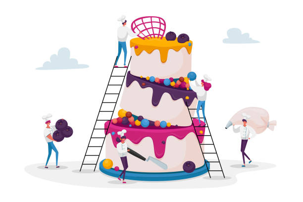 People Cook Festive Cake with Cream and Berries. Tiny Characters in Chef Uniform and Cap Decorating Huge Pie. Teamwork, Bakery, Giant Dessert for Birthday or Wedding. Cartoon Vector Illustration People Cook Festive Cake with Cream and Berries. Tiny Characters in Chef Uniform and Cap Decorating Huge Pie. Teamwork, Bakery, Giant Dessert for Birthday or Wedding. Cartoon Vector Illustration decorating a cake stock illustrations