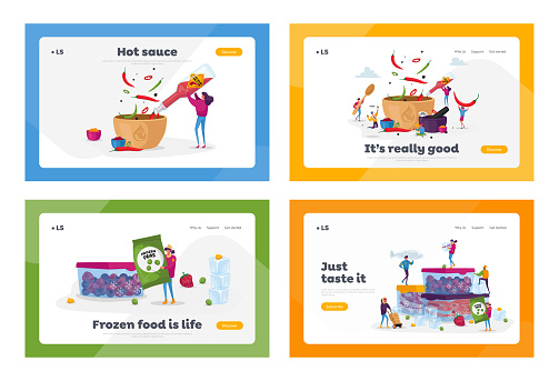 People Cooking Hot Spicy Meal, Freezing Products Landing Page Template Set. Tiny Characters Put Jalapeno or Chili Pepper