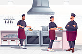 istock People cooking in restaurant kitchen. Professional chef with crew preparing food vector illustration. Horizontal panorama, culinary room interior background 1313305045