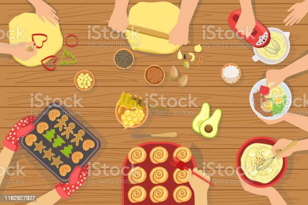 People cooking pastry and other food together view from above vector id1162927927?b=1&k=6&m=1162927927&s=612x612&h=ov0eroig7r1khlt8bs7w8mt 4q srg9xnlnkirqyydu=