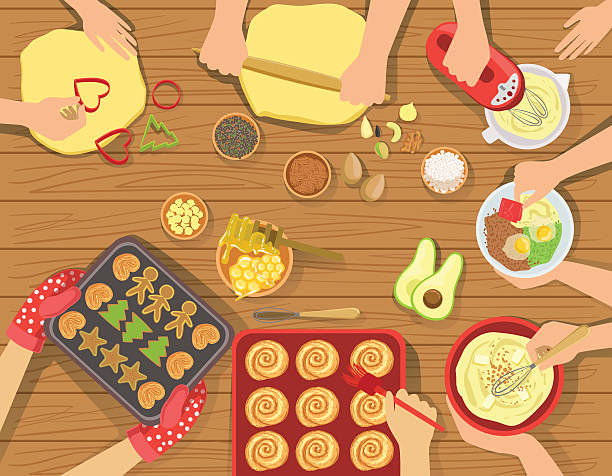 ilustrações de stock, clip art, desenhos animados e ícones de people cooking pastry and other food together view from above - baking bread at home