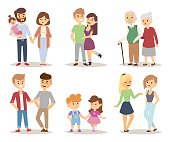 People couple relaxed cartoon vector illustration set