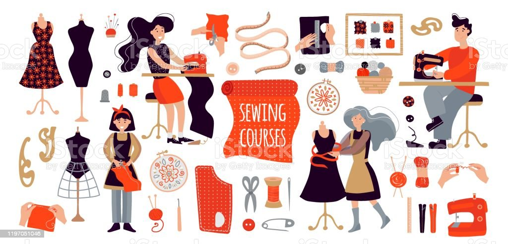 People Create Designer Clothes With Their Own Hands Illustration For Sewing Courses A Training Site A Poster With Master Classes Set Of Items For Sewing And Knitting A Man Women And A