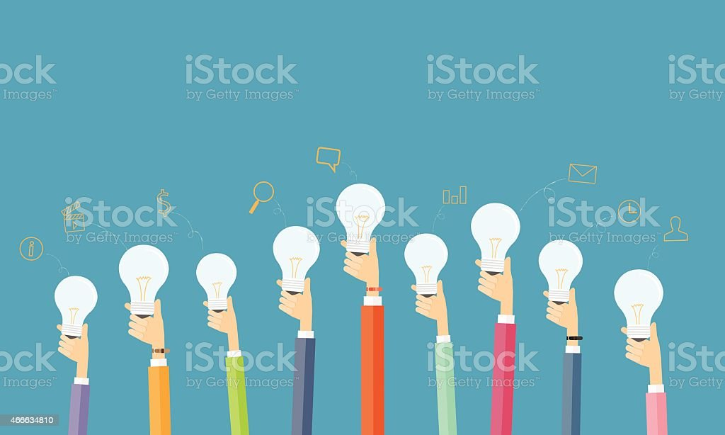 people creative and brainstorm idea for business vector art illustration