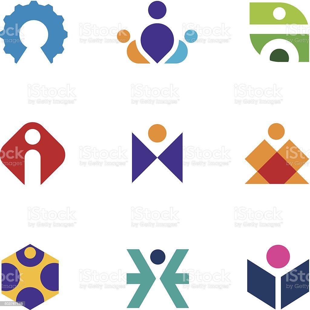 People creative tools of innovation icon set maze construction logo