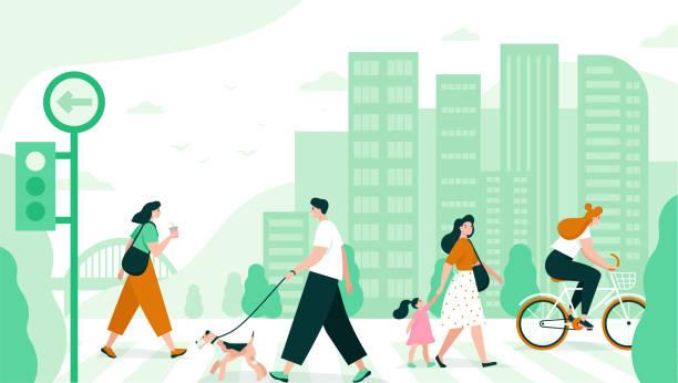 ilustrações, clipart, desenhos animados e ícones de as pessoas atravessam a estrada na cidade. - city