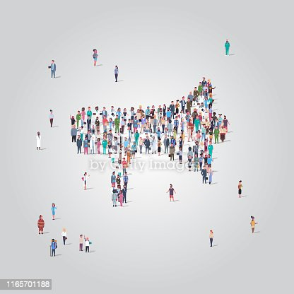 people crowd gathering in loudspeaker megaphone shape social media community announcement concept different occupation employees group standing together full length vector illustration