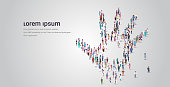 people crowd gathering in shape of palm hand icon social media community concept different occupation employees group standing together full length horizontal copy space vector illustration