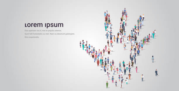 illustrazioni stock, clip art, cartoni animati e icone di tendenza di people crowd gathering in shape of palm hand icon social media community concept different occupation employees group standing together full length horizontal copy space - mano donna dita unite