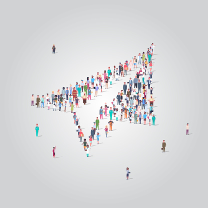 people crowd gathering in shape of paper plane icon social media community new startup concept different occupation employees group standing together full length