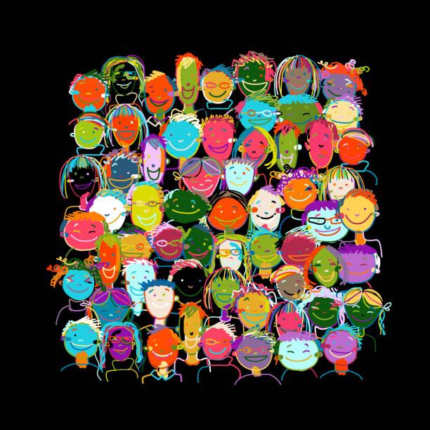 people crowd international, sketch for your design - kindergesichtsfarben stock-grafiken, -clipart, -cartoons und -symbole