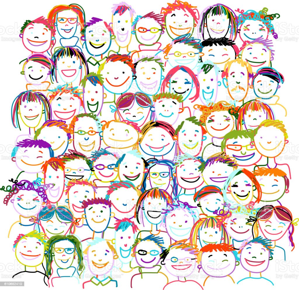 People crowd international, sketch for your design - Illustration vectorielle